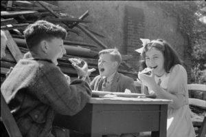 Children in UK enjoying food from the Lend-Lease Program