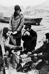 aleutian islands soldiers eating at battle site