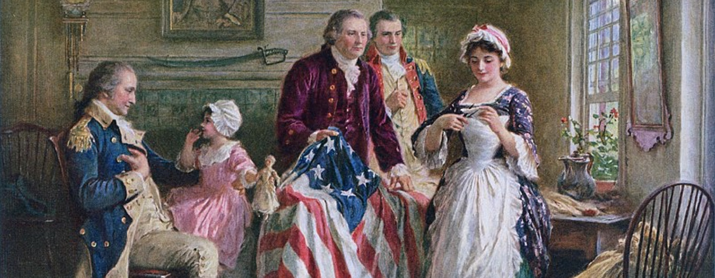 stitching of the american flag for flag day